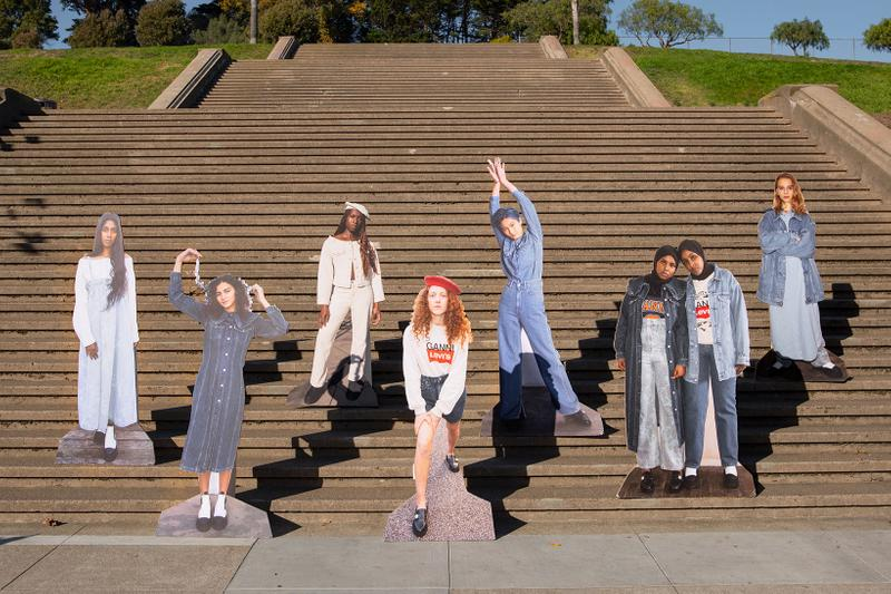 ganni levis denim jeans collaboration ss21 spring summer campaign stairs