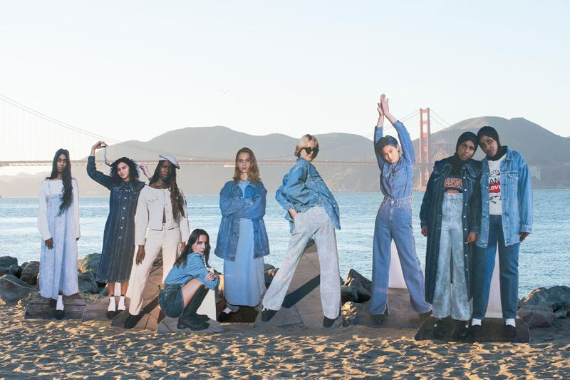ganni levis denim jeans collaboration ss21 spring summer campaign beach sea