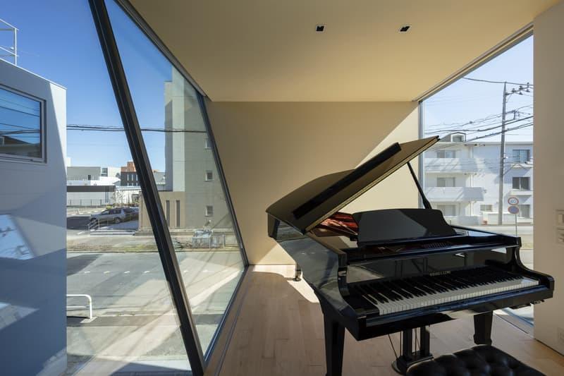 japan aisaka architects atelier house in tsukuba interior home design grand piano window