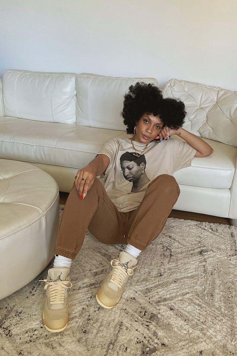 kia marie sneaker collector new york city content creator stylist influencer off white nike air jordan 4 sail