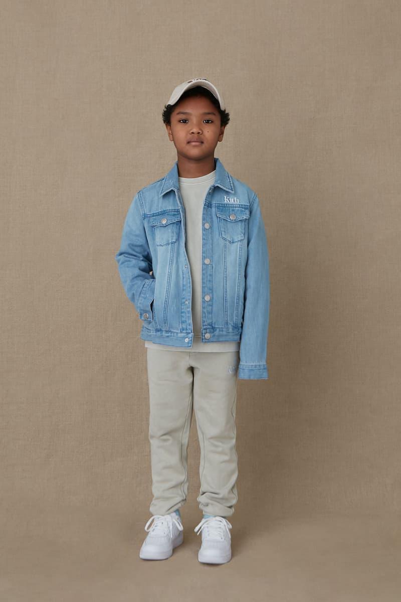 kith kids spring 2021 collection lookbook boy denim jacket beige pants