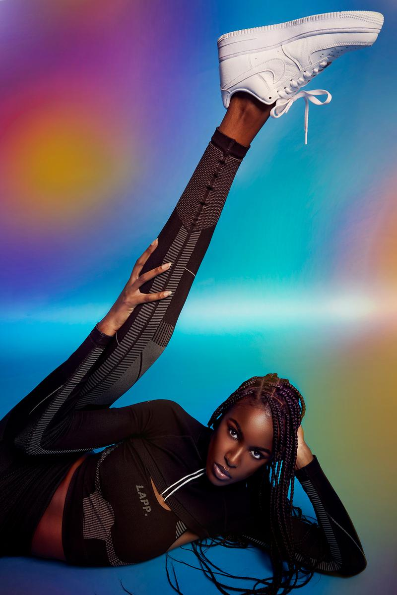 Leomie Anderson LAPP Athleisure Sportswear Activewear Brand Campaign Leggings Sports Bra Top Black British Model Designer Entrepreneur