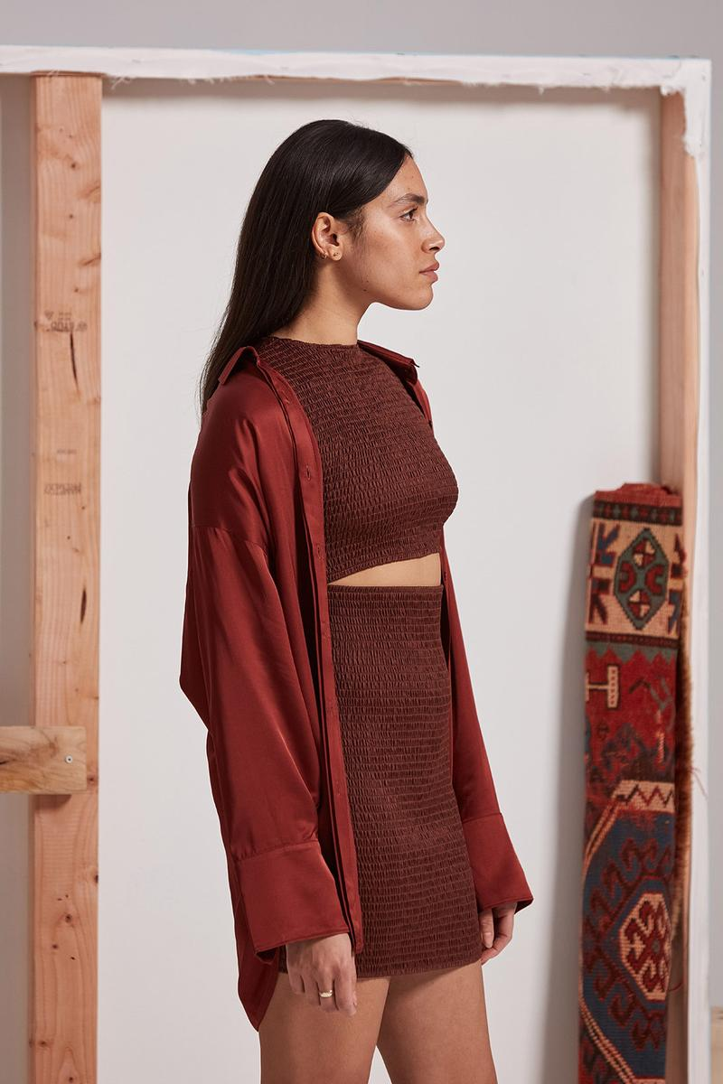les benjamins silk road services spring summer collection campaign crop top skirt jacket