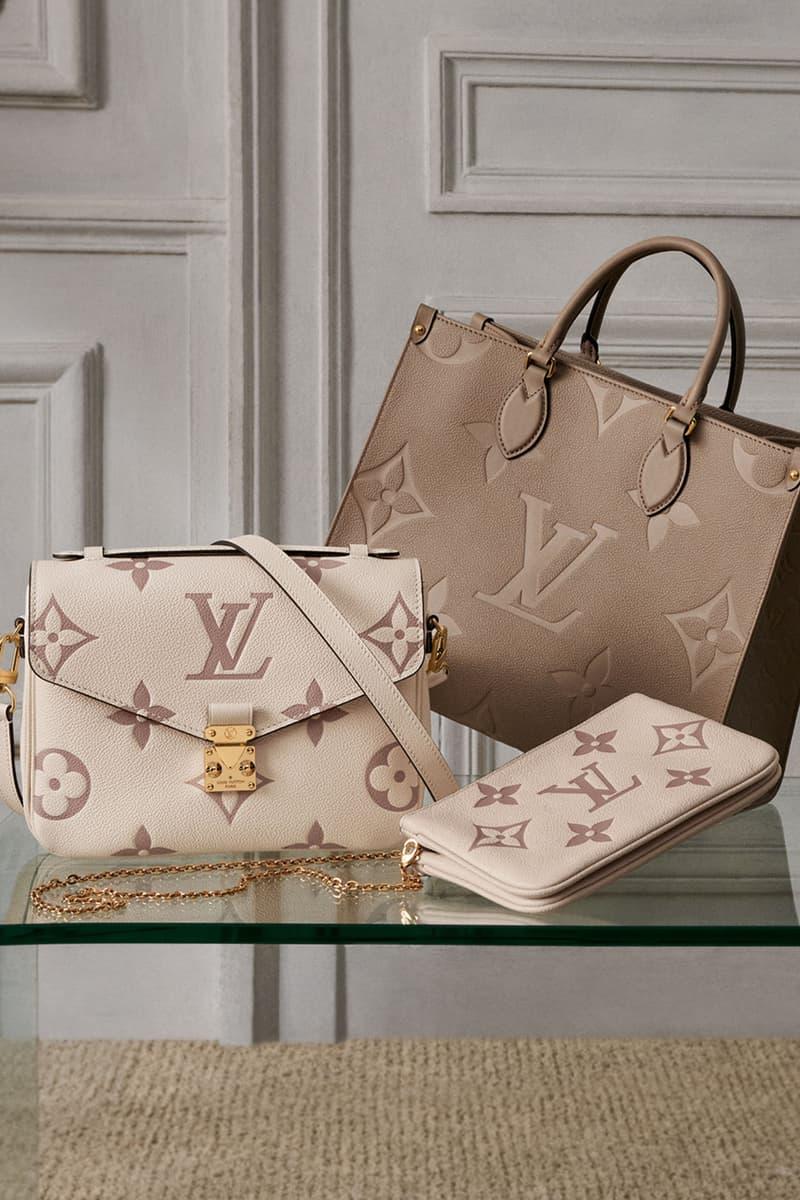 louis vuitton lv monogram empreinte vanity onthego mm handbags colors beige brown