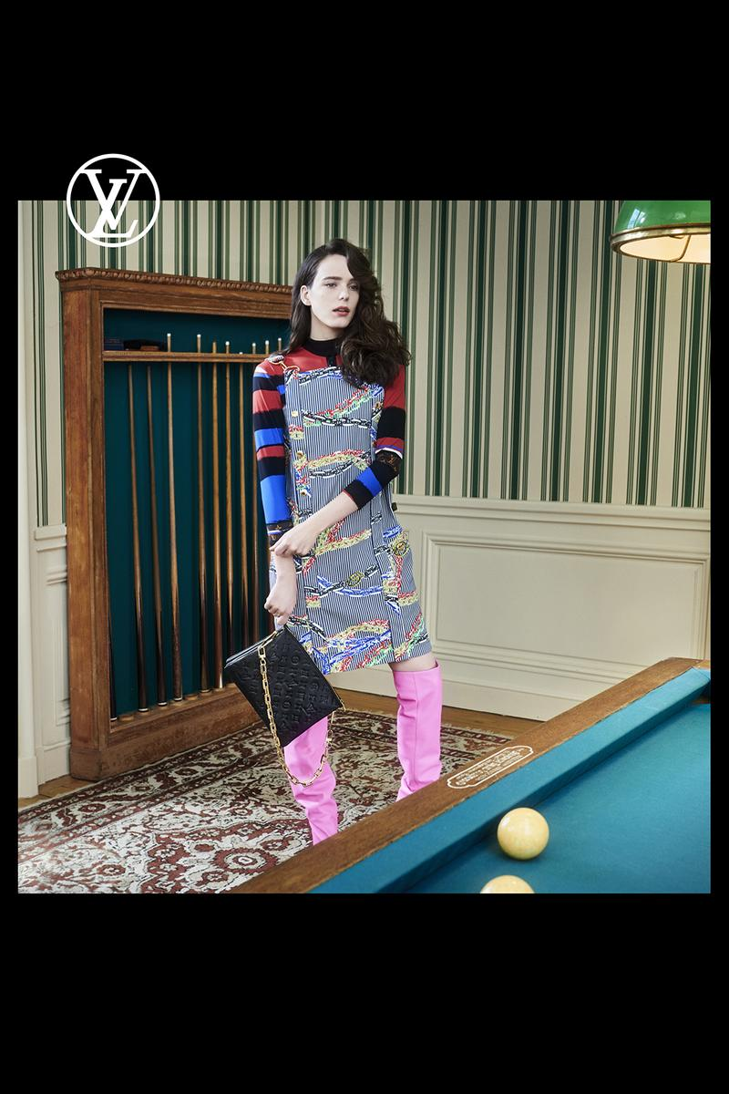 louis vuitton pre fall womens collection nicolas ghesquiere dress long sleeve shirt pink boots black designer bag pool table