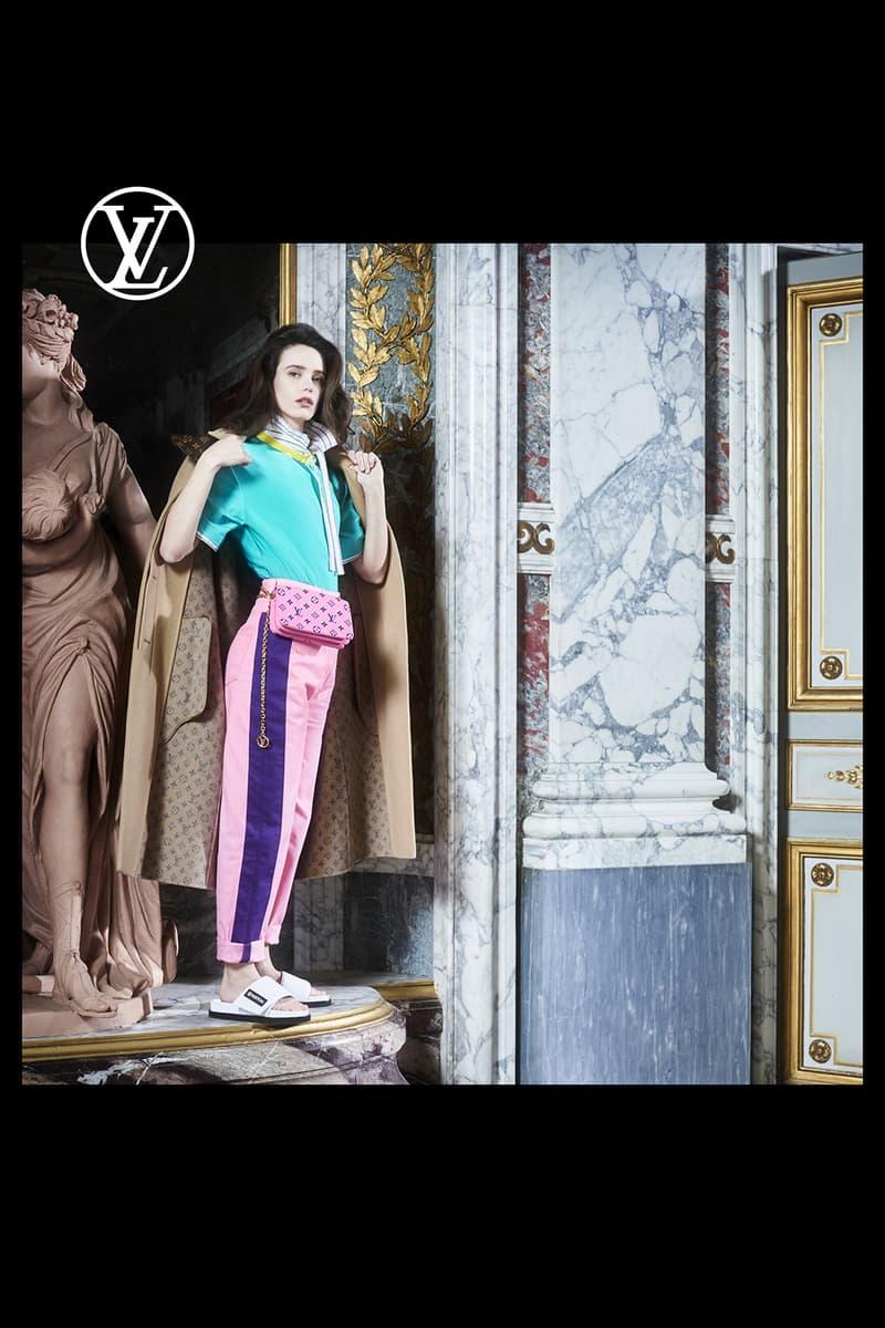 louis vuitton pre fall womens collection nicolas ghesquiere aqua blue t shirt tee pink pants white slides designer belt bag beige outerwear jacket coat