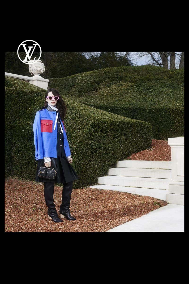 louis vuitton pre fall womens collection nicolas ghesquiere garden blue jacket outerwear skirt black boots handbag shades sunglasses