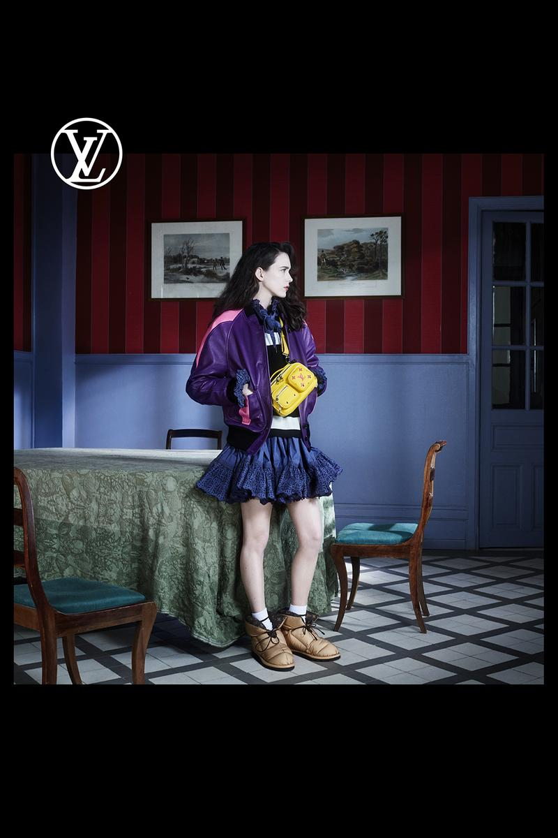 louis vuitton pre fall womens collection nicolas ghesquiere purple jacket outerwear skirt brown shoes table chair painting furniture