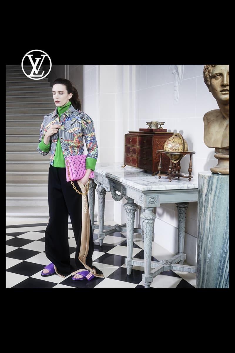 louis vuitton pre fall womens collection nicolas ghesquiere jacket outerwear black pants purple slides pink designer handbag