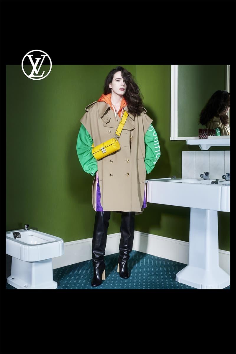 louis vuitton pre fall womens collection nicolas ghesquiere coat outerwear jacket green long sleeve shirt black boots yellow designer belt bag