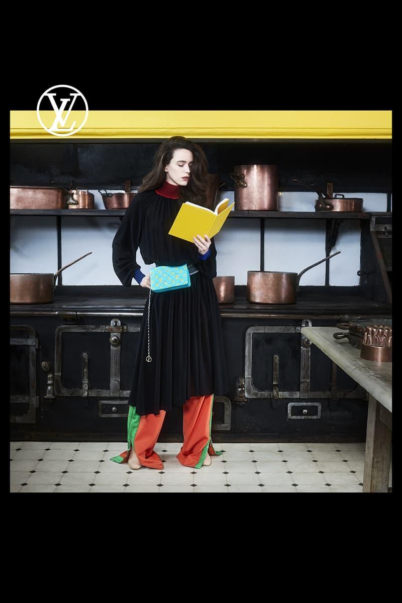 louis vuitton pre fall womens collection nicolas ghesquiere black dress blue belt bag yellow book orange green pants shoes kitchen pots pans