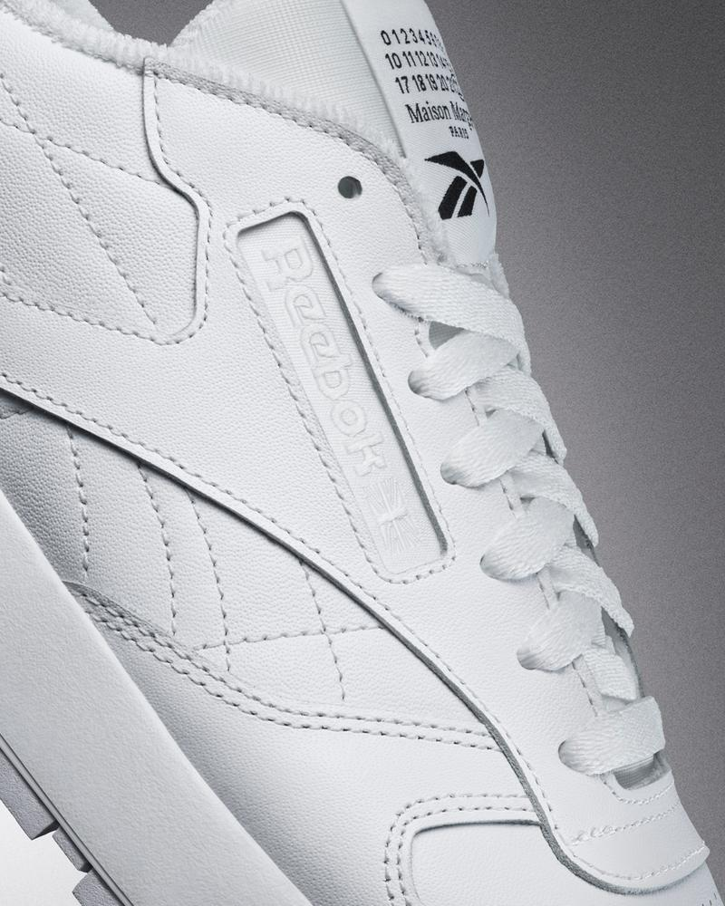 maison margiela reebok classic leather tabi toe sneakers collaboration details lateral side logo