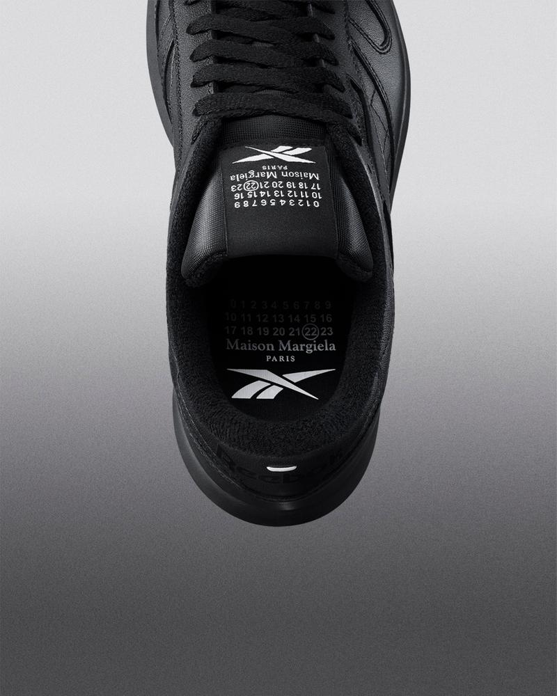 maison margiela reebok classic leather tabi toe sneakers collaboration black details insoles logo tongue