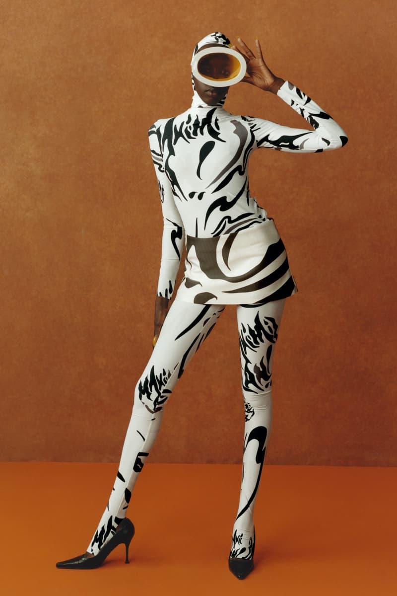 maximilian fall winter collection london fashion week lfw black culture lookbook headwear goggles bodysuit skirt heels