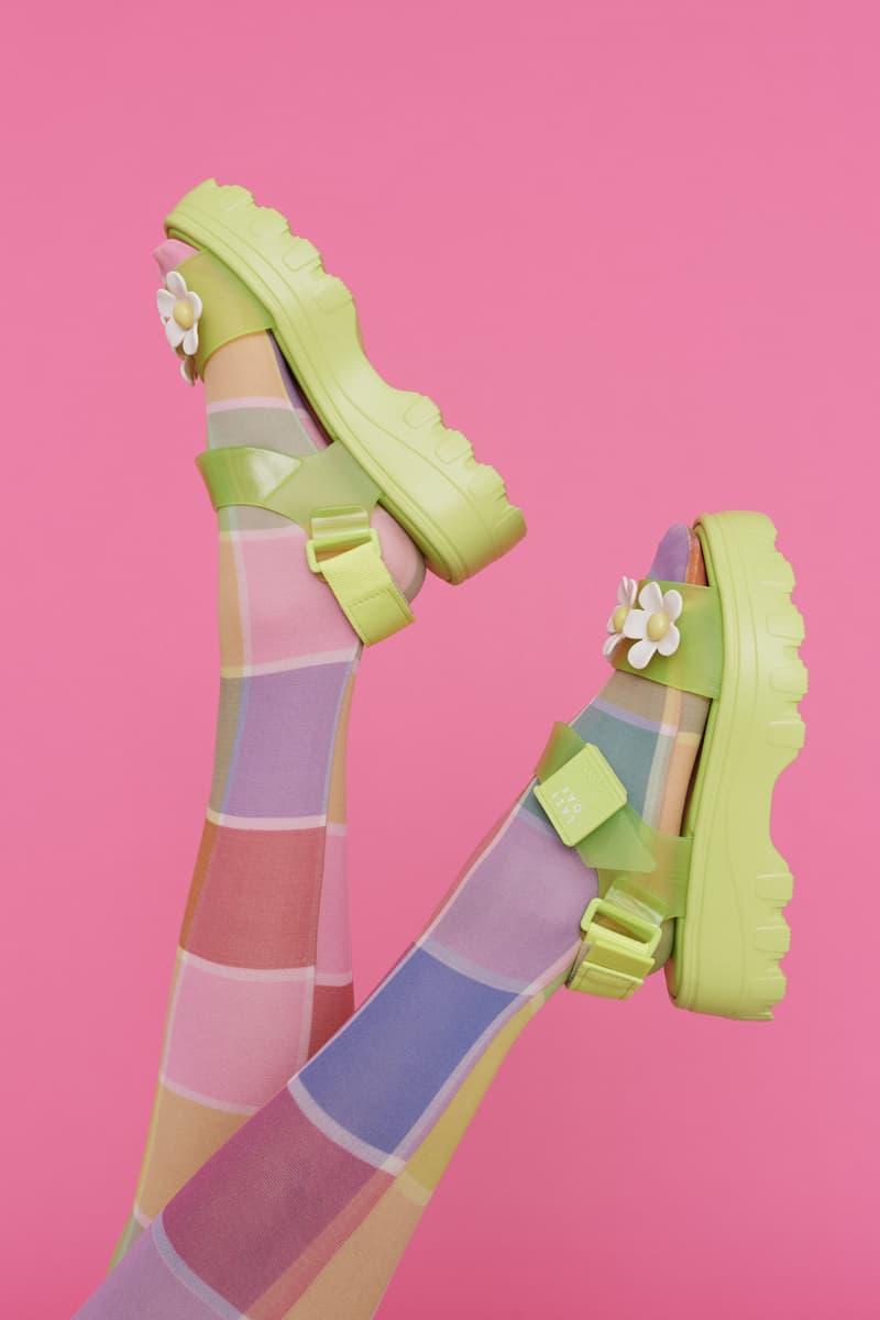 melissa lazy oaf jelly platform sandals collaboration tights socks daisy