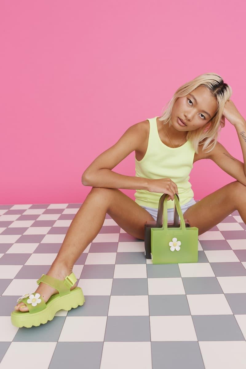 melissa lazy oaf jelly platform sandals collaboration daisy bag tank top