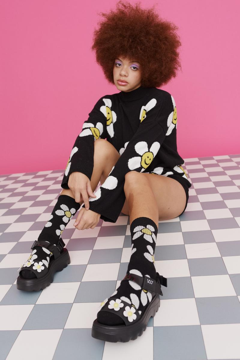 melissa lazy oaf jelly platform sandals collaboration daisy sweater socks