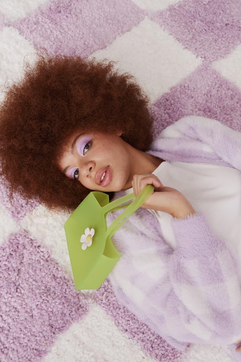 melissa lazy oaf jelly platform sandals collaboration daisy green handbag checkerboard purple rug