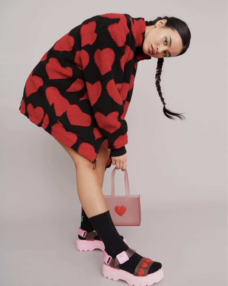 melissa lazy oaf jelly platform sandals collaboration heart jacket socks bag