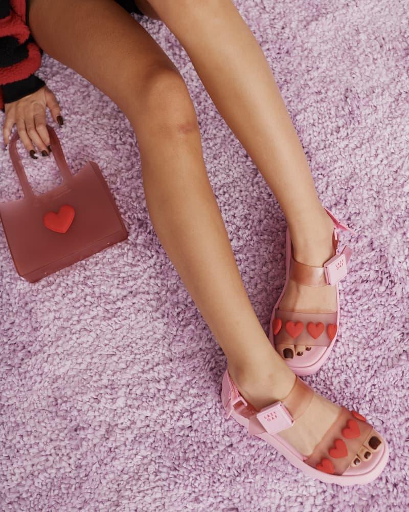 melissa lazy oaf jelly platform sandals collaboration heart pink bag