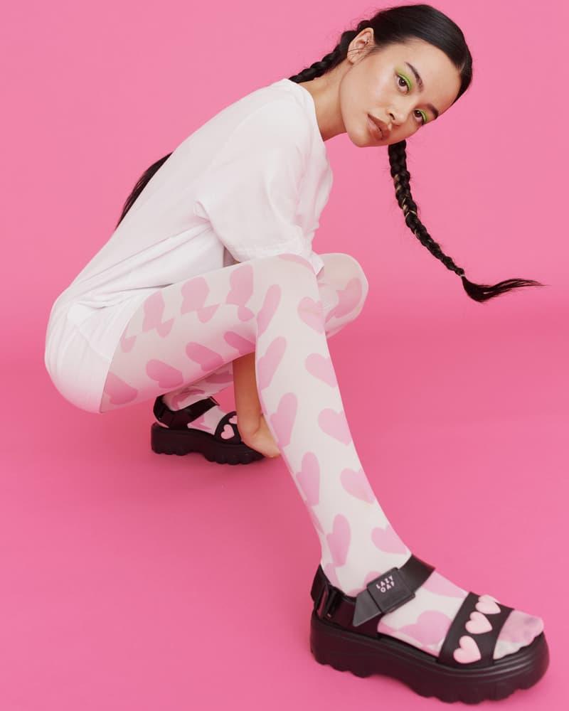 melissa lazy oaf jelly platform sandals collaboration heart black tights