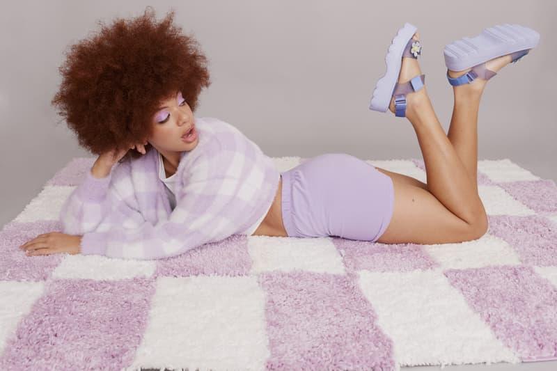melissa lazy oaf jelly platform sandals collaboration purple shorts sweater rug