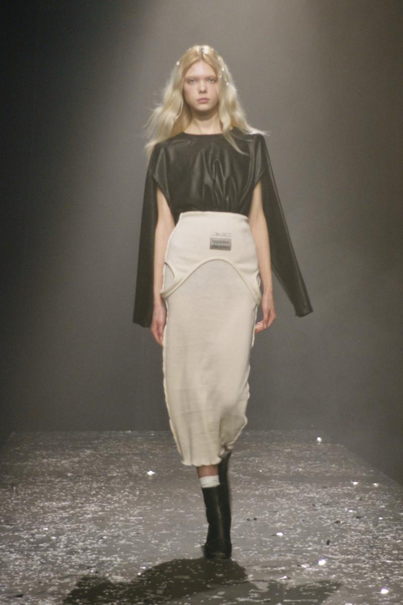 mm6 maison margiela fall winter collection paris fashion week pfw leather top skirt