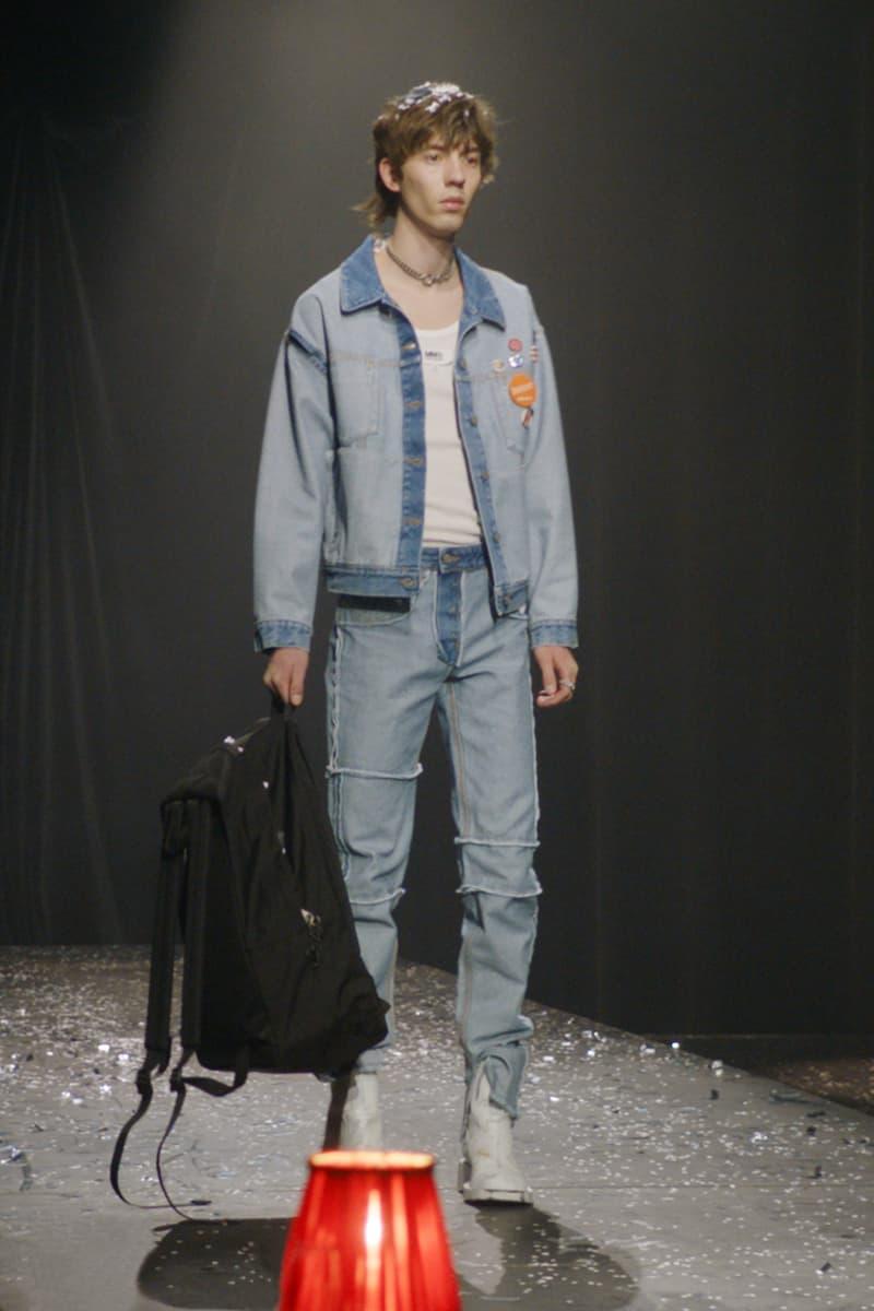 mm6 maison margiela fall winter collection paris fashion week pfw denim jacket white tee t shirt pants jeans eastpak backpack