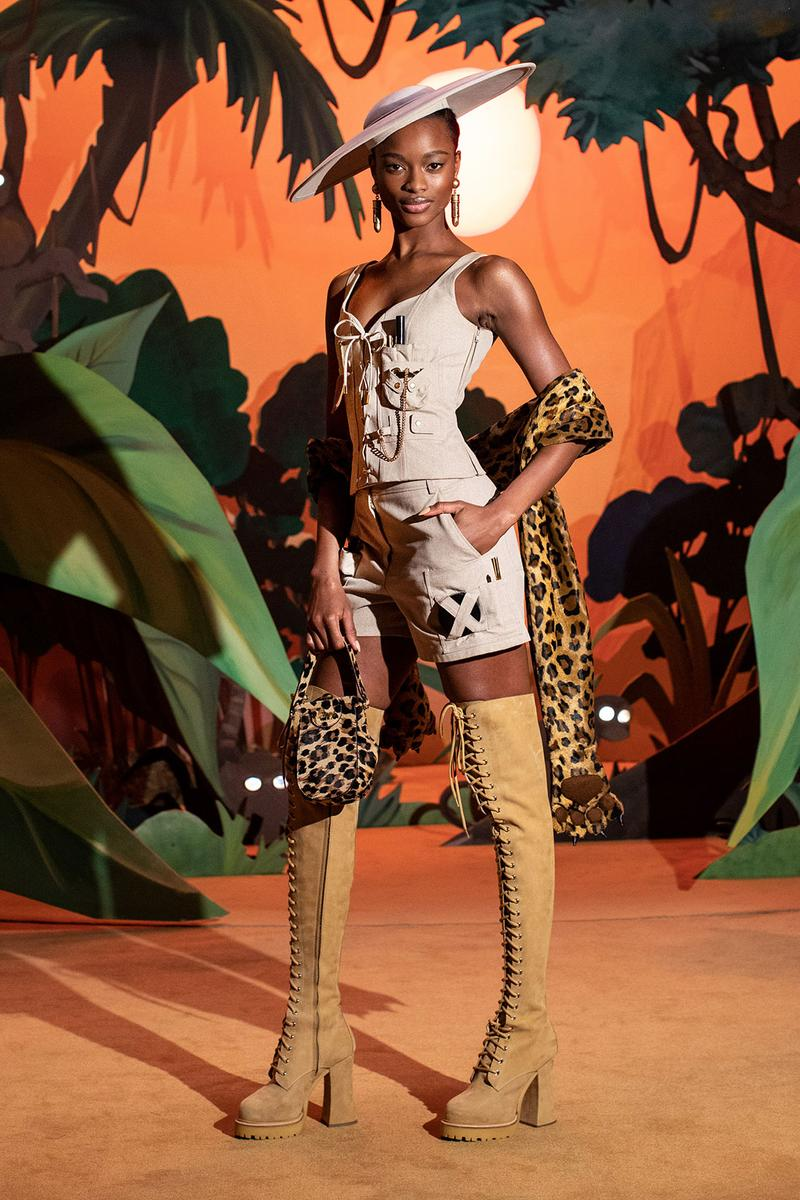 moschino fall winter fw21 collection jungle red show jeremy scott jungle theme shorts boots
