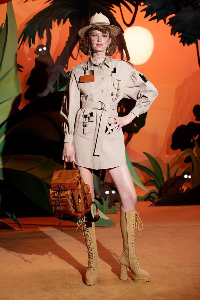 moschino fall winter fw21 collection jungle red show jeremy scott jungle safari theme boots dress