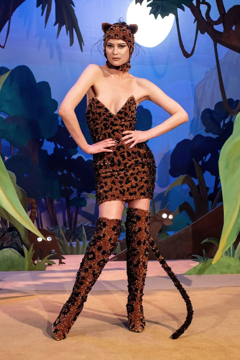 moschino fall winter fw21 collection jungle red show jeremy scott jungle safari theme cheetah tail boots