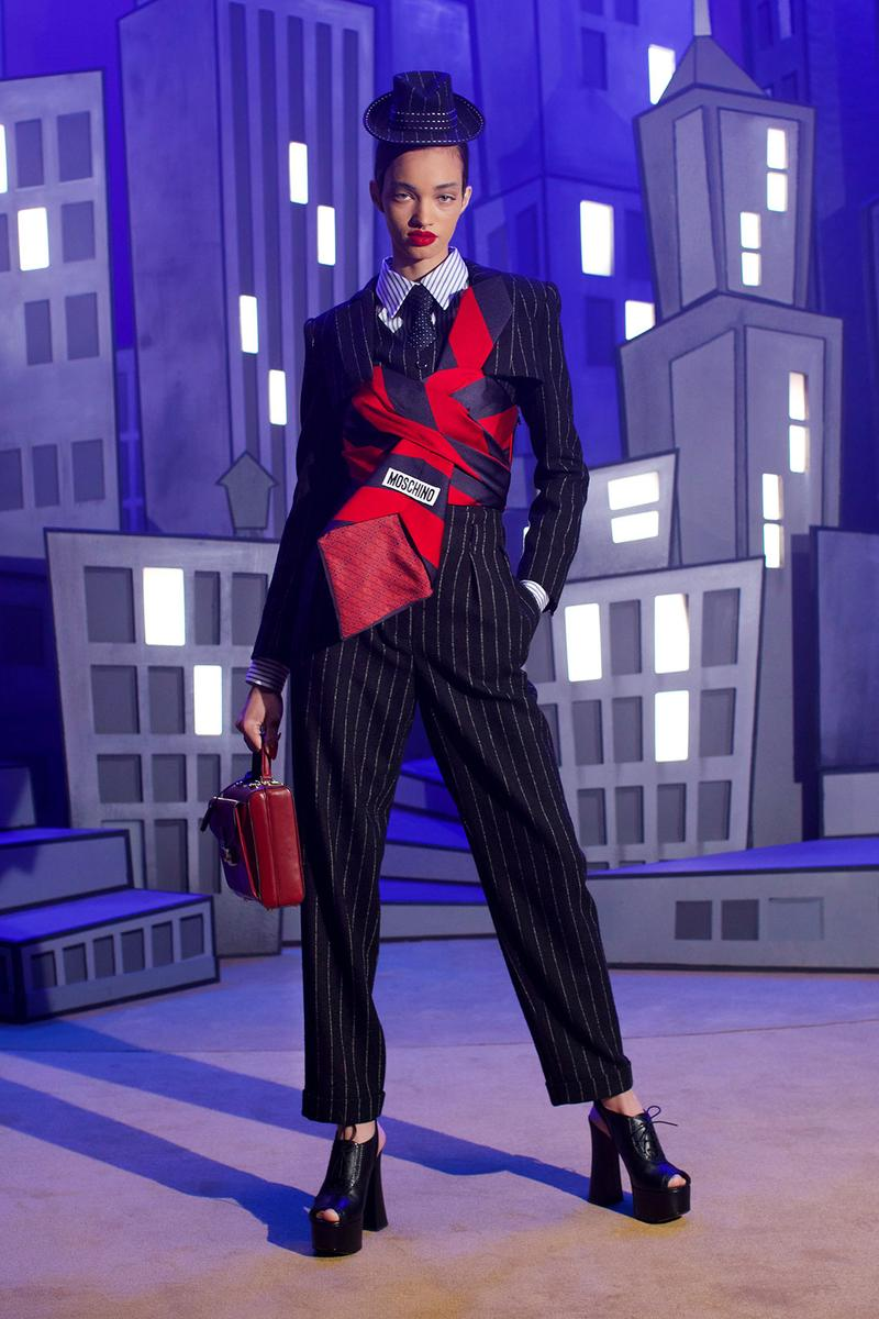 moschino fall winter fw21 collection jungle red show pantsuit city