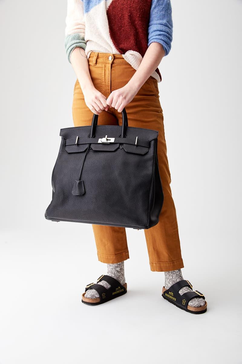 mschf birkenstock arizona sandals destroyed hermes birkin bags repurposed sustainable black pants shirt