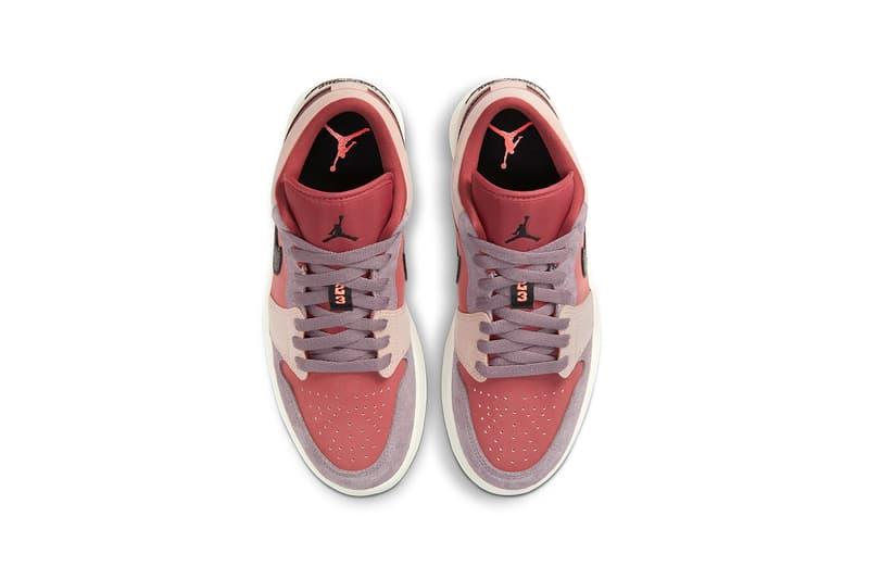 nike air jordan 1 low womens sneakers canyon rust purple smoke pink beige black colorway footwear kicks shoes sneakerhead aerial birds eye view insole laces