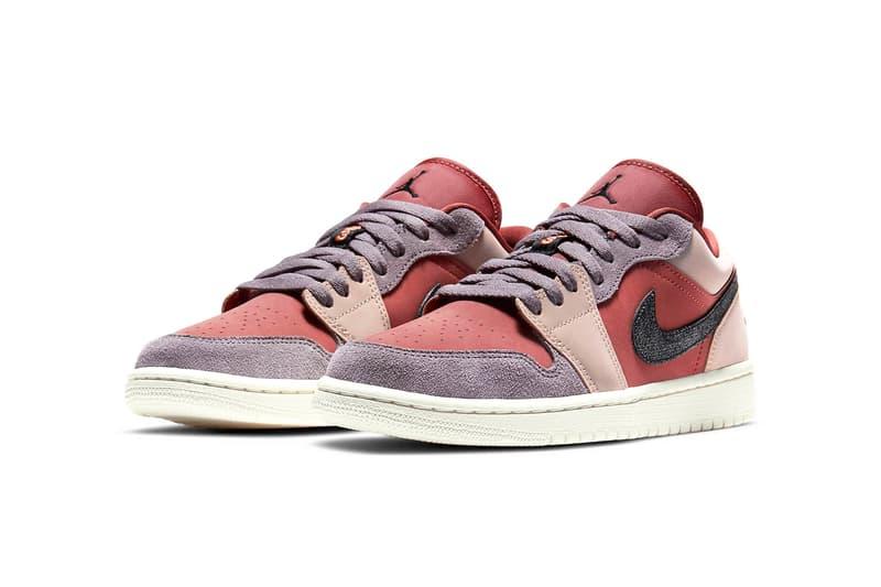 nike air jordan 1 low womens sneakers canyon rust purple smoke pink beige black colorway footwear kicks shoes sneakerhead lateral laces