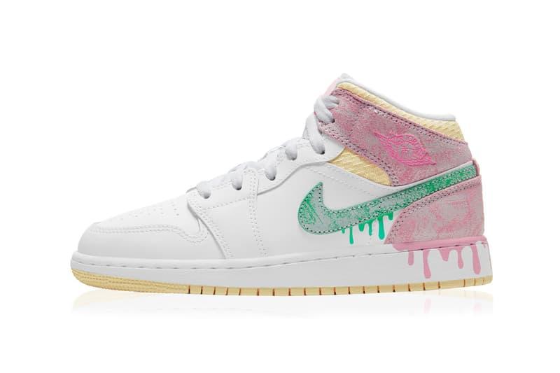 nike air jordan 1 mid kids gs sneaker paint drip white pink green yellow footwear shoes kicks sneakerhead