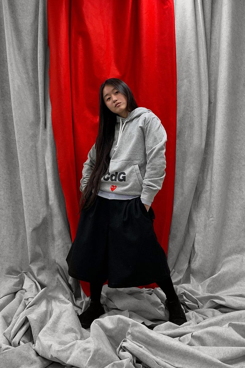 nike converse comme des garcons cdg play together collaboration campaign gray hoodies black skirt