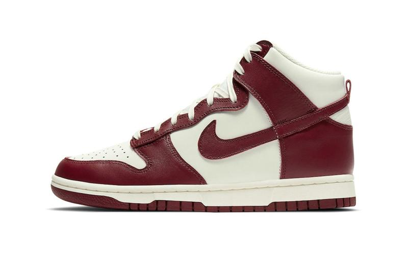 nike dunk high team red white sneakers lateral swoosh details