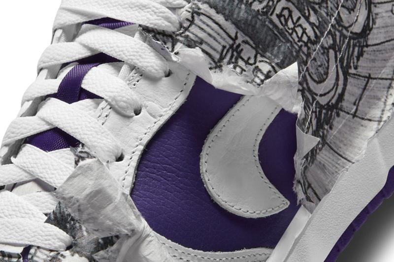 nike dunk low flip the old school purple white details wrapping tissue paper