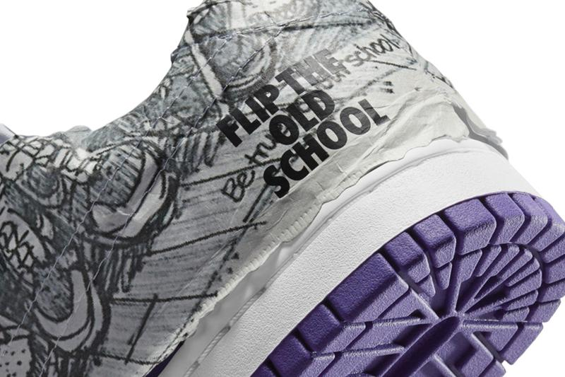 nike dunk low flip the old school purple white details wrapping tissue paper rear heel