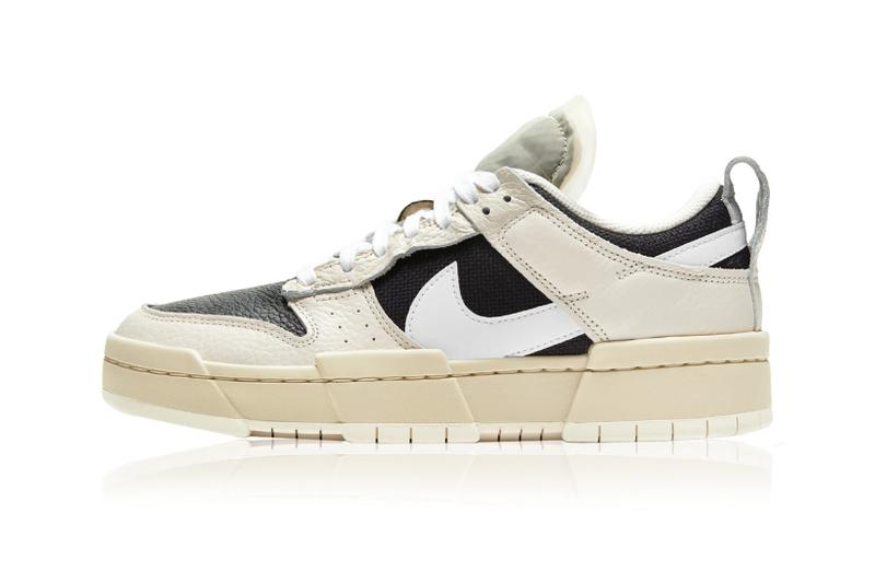 nike womens dunk low disrupt sneakers pale ivory cream white black colorway footwear shoes sneakerhead