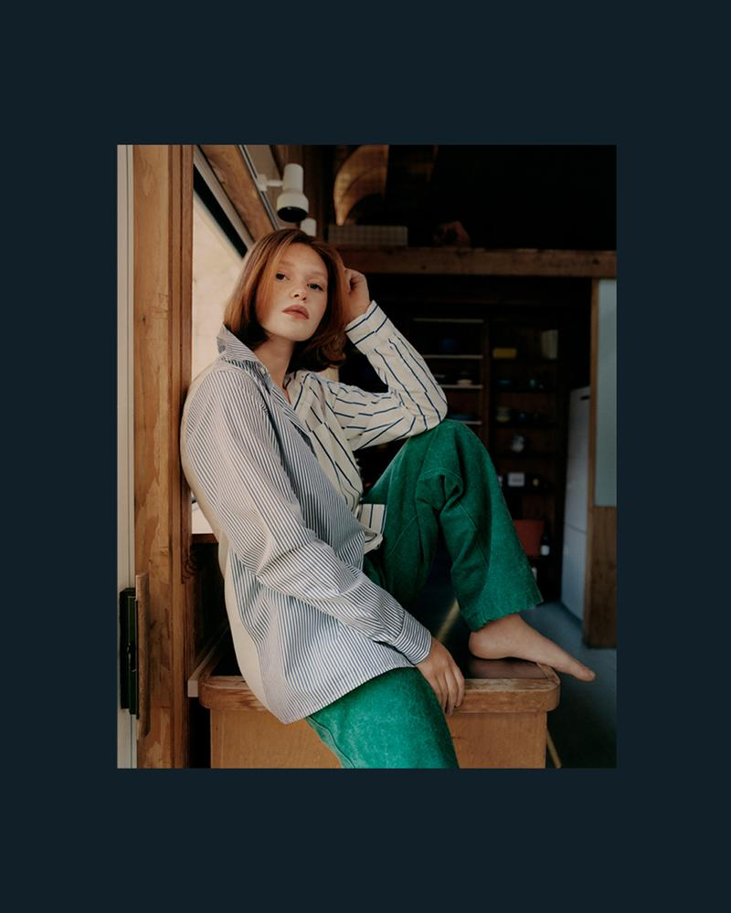 noah clothing ny spring summer 2021 collection campaign womenswear jeans shirt shirt trousers green