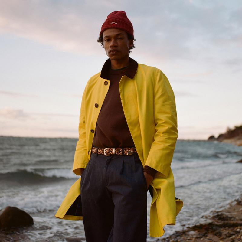 noah clothing ny spring summer 2021 collection campaign menswear coat beanie