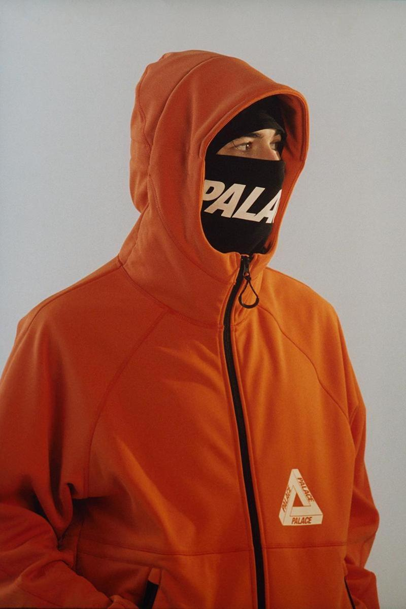 palace skateboards spring summer collection lookbook gore tex orange jacket outerwear face mask