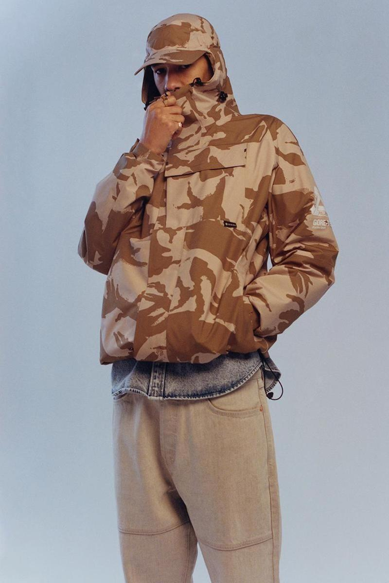palace skateboards spring summer collection lookbook camo hat jacket outerwear pants brown