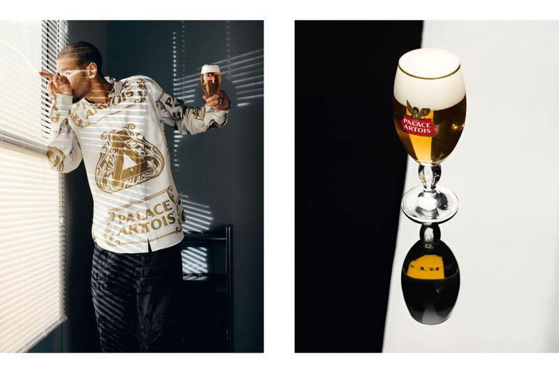 palace skateboards stella artois beer collaboration collection print shirt glass cup
