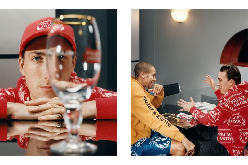 palace skateboards stella artois beer collaboration collection glass cup hat cap hoodie
