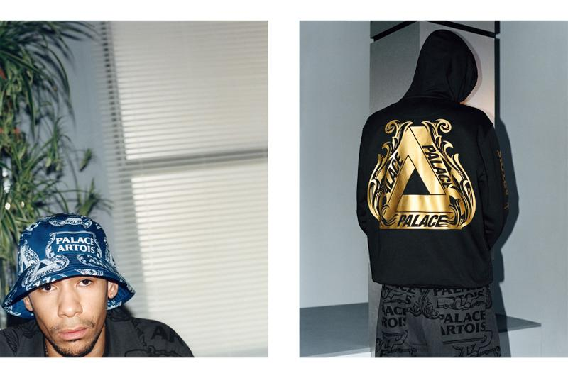palace skateboards stella artois beer collaboration collection bucket hat hoodie
