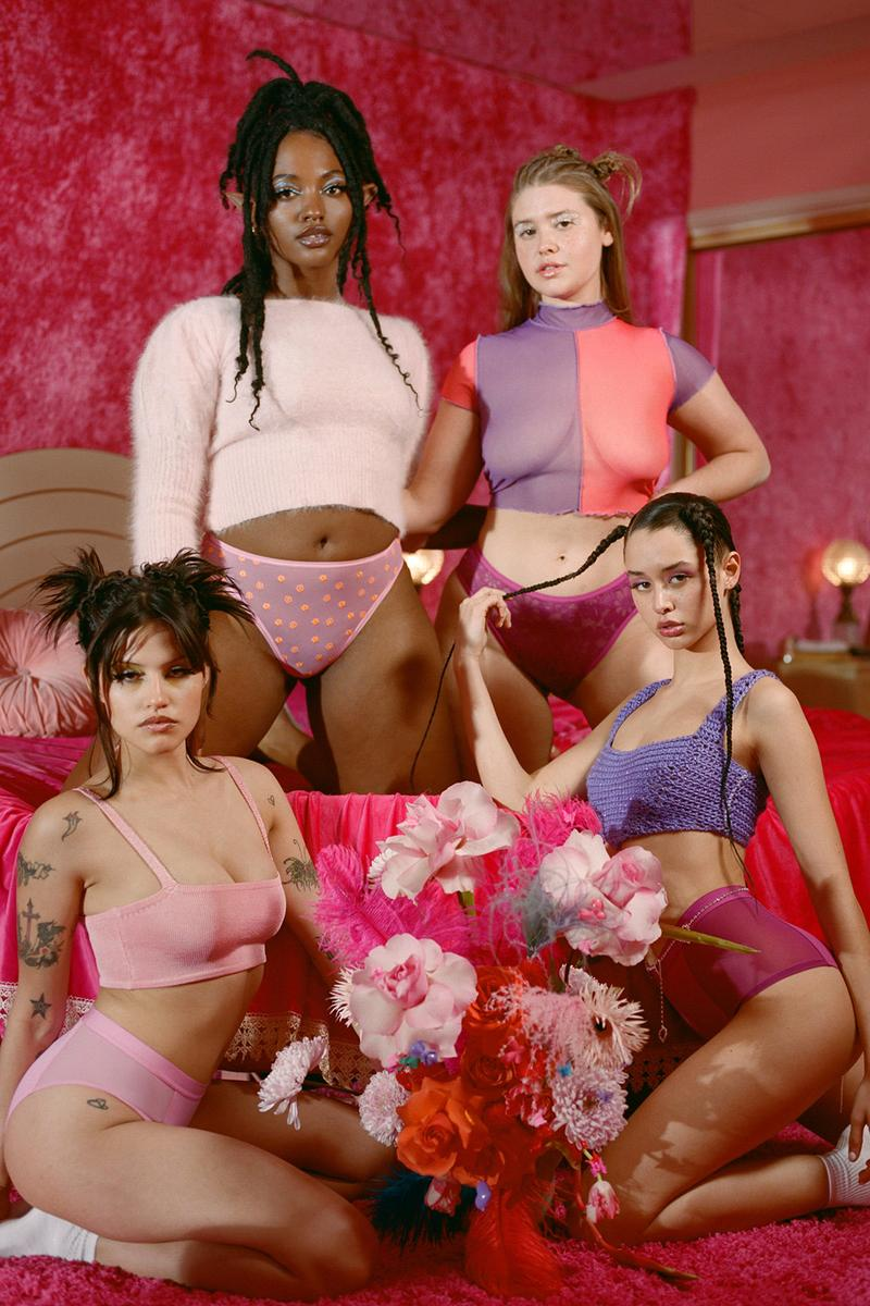 parade superbloom collection underwear replay lingerie pink purple crop top long sleeve bralette thong brief cheeky