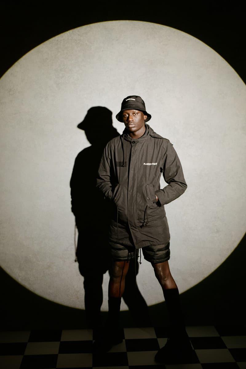 places plus faces 2021 first drop black parka jacket shorts bucket hat